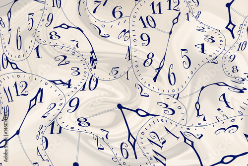 Fotografie, Obraz  Clocks and clock hands that is pulled / twisted out of a regular shape