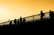 silhouette Myanmar workers crossing border to Thailand, Mae Sot, Tak, Thailand