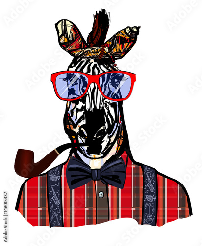Photo sur Toile Art Studio Zebra with sunglasses in hipster style