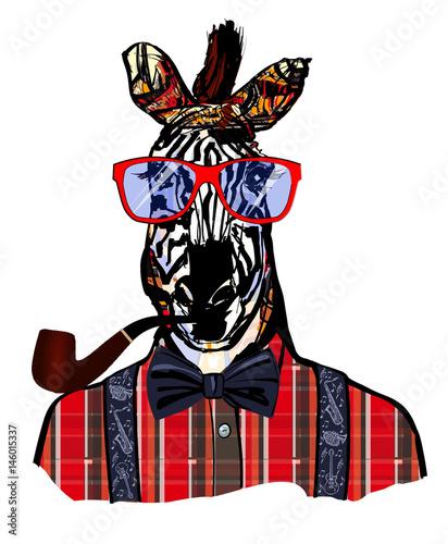 Fotobehang Art Studio Zebra with sunglasses in hipster style