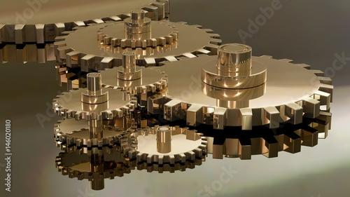 Fotografia, Obraz  industrie,engrenage,mécanisme,bronze,jaune,dentelé,pignon,