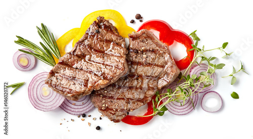 Foto op Plexiglas Grill / Barbecue grilled beef steak