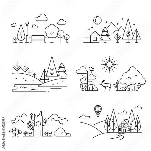 Fotobehang Wit Nature landscape outline icons with tree, plants, mountains, river