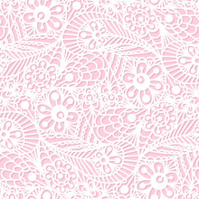 Seamless Flower Paisley Lace Pattern On Pink Background