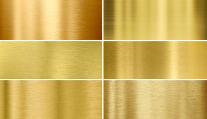 Fototapeta Gold or brass brushed metal textures
