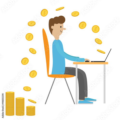 Admirable Profile Man With Laptop Computer Work Sitting Boy Chair Gmtry Best Dining Table And Chair Ideas Images Gmtryco