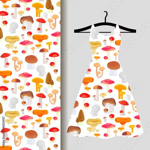 Canvas Print Women dress fabric pattern with mushrooms