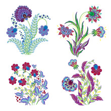 Vector Isolated Embroidery Flo...