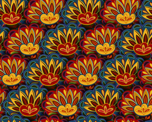 Seamless ethnic pattern with floral motives. Mandala stylized print template for fabric and paper. Boho chic design. Summer fashion. Blue yellow red.