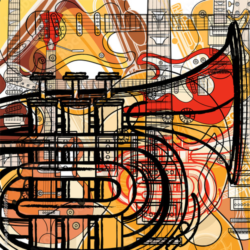 Tuinposter Art Studio Set of musical instruments