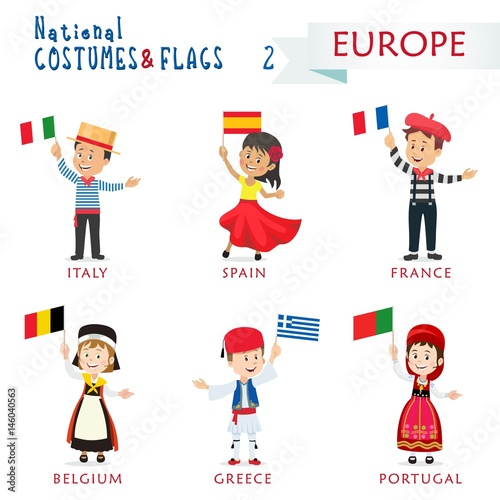 Fényképezés  National costumes and flags of the nations - Kids of the world - Europe