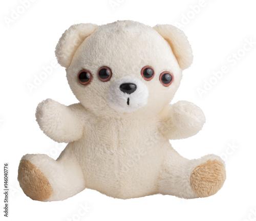 Stampa su Tela Weird teddy bear, four eyes. Nightmare and fears metaphor