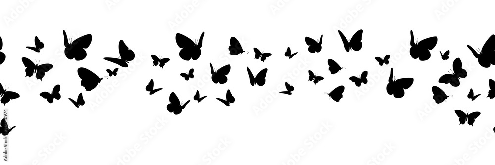 Fototapeta Banner nahtlos mit schwarzen Schmetterling Silhouetten