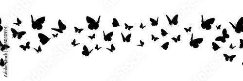 Fotografía  Banner nahtlos mit schwarzen Schmetterling Silhouetten