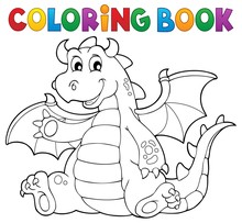 Coloring Book Dragon Theme Ima...