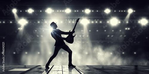Fototapeta Elegant guitarist silhouette