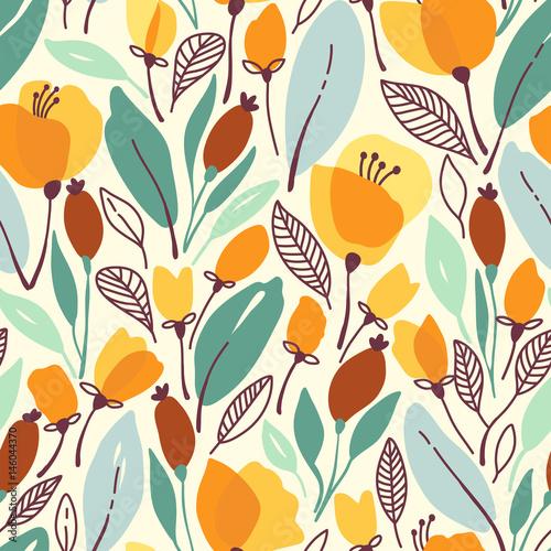 kwiatowy-wzor-z-zolte-kwiaty-i-liscie-ilustracji-wektorowych