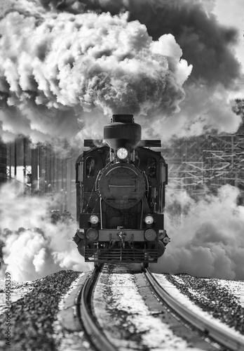 Fotografía Historic locomotive leaving the station