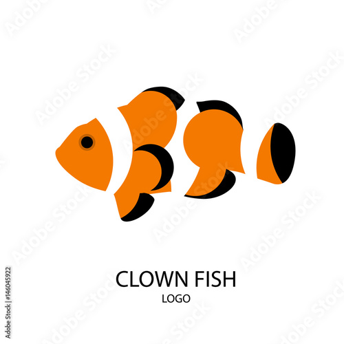 Fotografia, Obraz The silhouette of clownfish. Flat design. Vector illustration.
