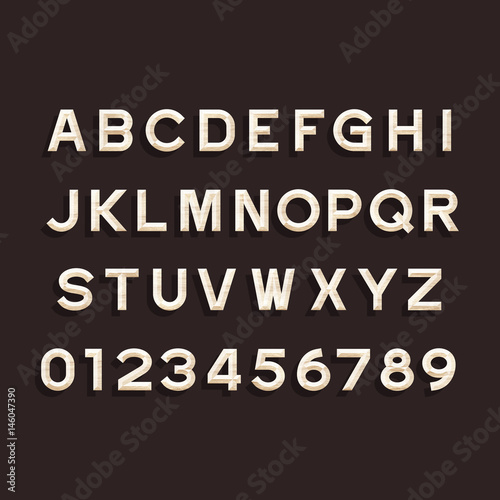 Wooden Alphabet Vector Font Type Letters And Numbers Chiseled