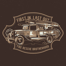 T-shirt Label Design With Illustration Of Vintage Fire Truck.