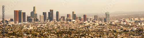 Panorama cityscape of hazy Los Angeles skyline