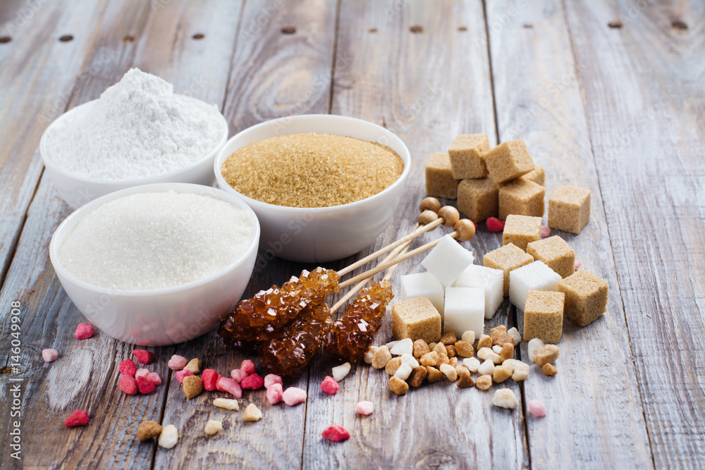 Fototapety, obrazy: Sugar variety on wooden table