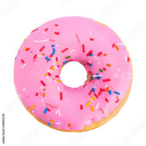 Photo  Pink donut closeup