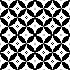 Fototapeta Geometric seamless pattern in black and white - inspired by Spanish and Portuguese tiles design