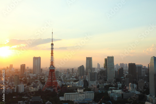 Fototapety, obrazy: Japan skyline with tokyo tower background