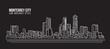 Cityscape Building Line art Vector Illustration design - Monterrey city