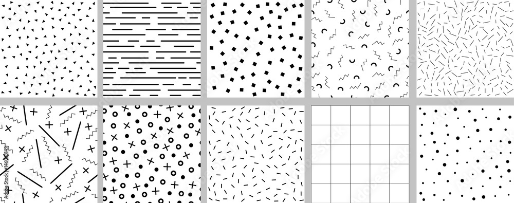 Fototapeta Set of minimalistic black and white neo memphis patterns.