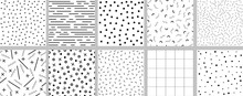 Set Of Minimalistic Black And White Neo Memphis Patterns.