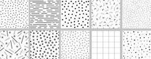 Set Of Minimalistic Black And White Neo Memphis Patterns.