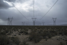 Electricity Pylons And Plants In Field Against Cloudy Sky