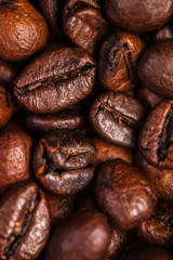 Panel Szklany Coffee beans background macro. Dark Roasted coffee beans textured wallpaper for your design with copy space.