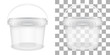 Transparent empty plastic bucket for storage of food or non-food products. Vector packaging template illustration.