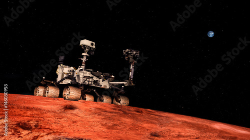 Poster Nasa Extremely detailed and realistic high resolution 3D image of Space Exploration Vehicle Curiosity searching for life on Mars. Shot from outer space. Elements of this image are furnished by NASA.