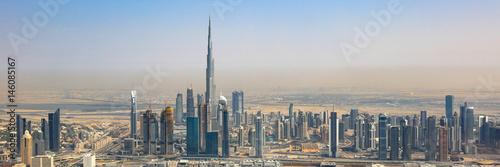 Fototapeta Dubaj linii horyzontu Burj Khalifa panoramy drapacza chmur widok z lotu ptaka widok z lotu ptaka