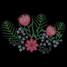 Embroidery Stitches With Pink Protea, Succulents, Summer Flowers For Neckline. Vector Fashion Embroidered Ornament On Black Background For Textile, Fabric Traditional Folk Decoration.