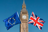 Fototapeta Big Ben - European Union and UK flags in front of Big Ben, Brexit EU