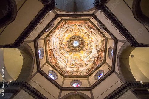 Picture of the Judgment Day on the ceiling of dome in Santa Maria del Fiore Cath Tableau sur Toile