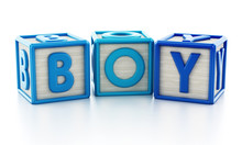 Colorful Toy Cubes Forming Baby Word. 3D Illustration
