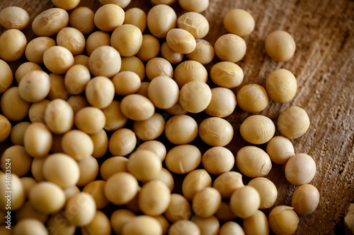 In de dag Bamboo healthy soy bean on wooden background.