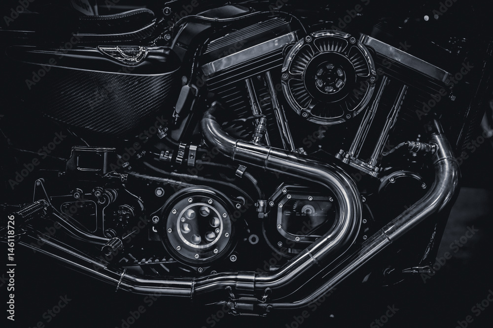 Fototapeta Motorcycle engine engine exhaust pipes art photography in black and white vintage tone