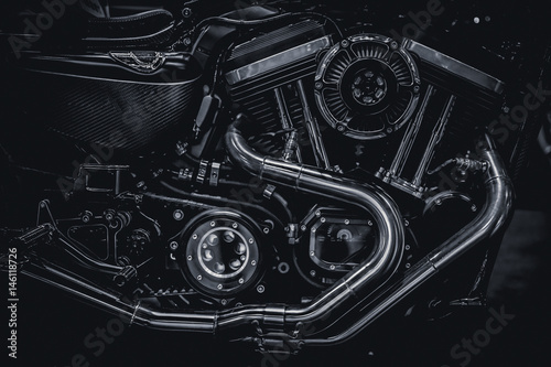 Fotografering  Motorcycle engine engine exhaust pipes art photography in black and white vintag
