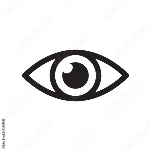 Simple eye icon vector. Eyesight pictogram in flat style. Fototapete