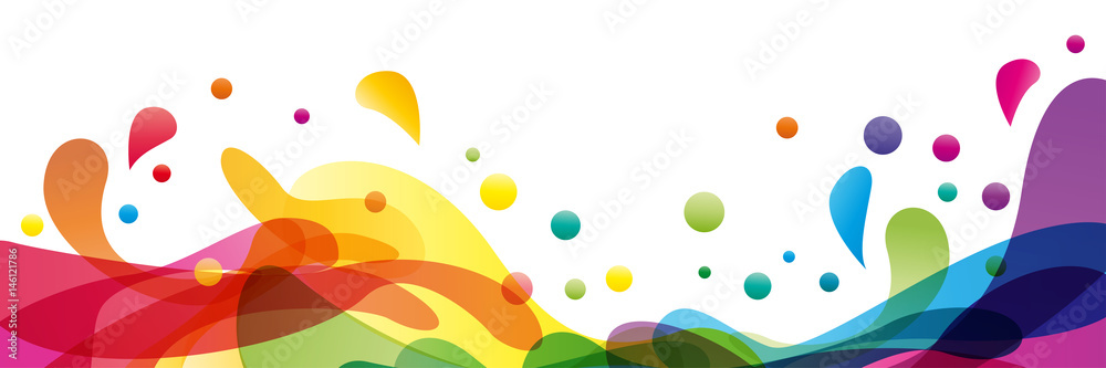 Fototapeta Summer background and banner with water, splash and waves in vector abstract shape
