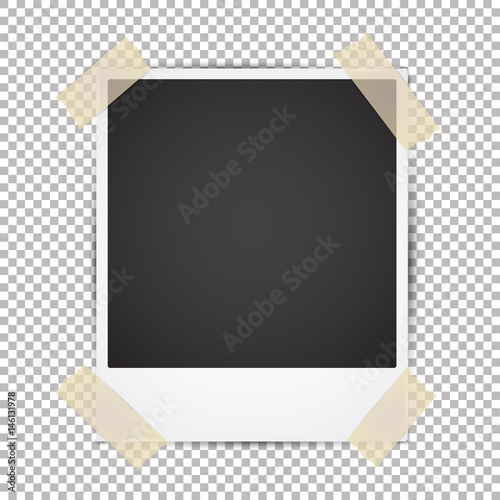 Vector Instant Photo Frame With Adhesive Tape Realistic Mockup On Transpa Background Vintage Paper Template For Your Photos