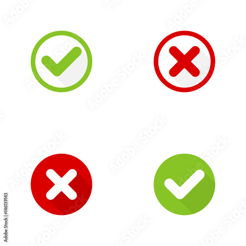 Set Of Vector Buttons With Check Marks Ticks X Checkbox Web And